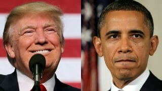 Donald Trump side by side Barack Obama.