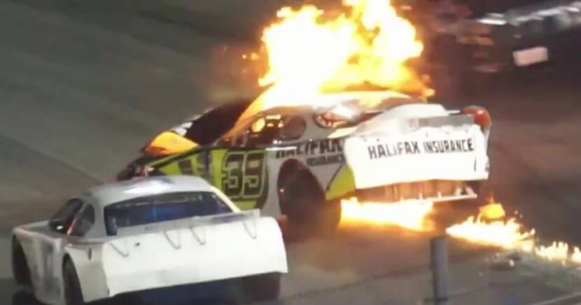 Dean Jones rescues son Mike after his car caught fire during a NASCAR race.
