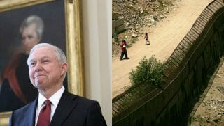 Jeff Sessions and the U.S. Mexican border in Arizona.