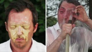 Levi Tillemann pepper sprays himself in the face.