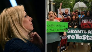 Protesters stage a demonstration outside Homeland Security Secretary Kirstjen Nielsen's home.