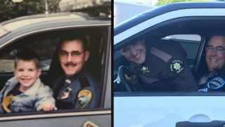 Officer Gould and his son recreate a picture in a police car 20 years later.