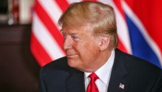 U.S. President Donald Trump during a historic U.S.-DPRK summit with North Korean leader Kim Jong-un (unseen) at the Capella Hotel on Sentosa island on June 12, 2018 in Singapore.