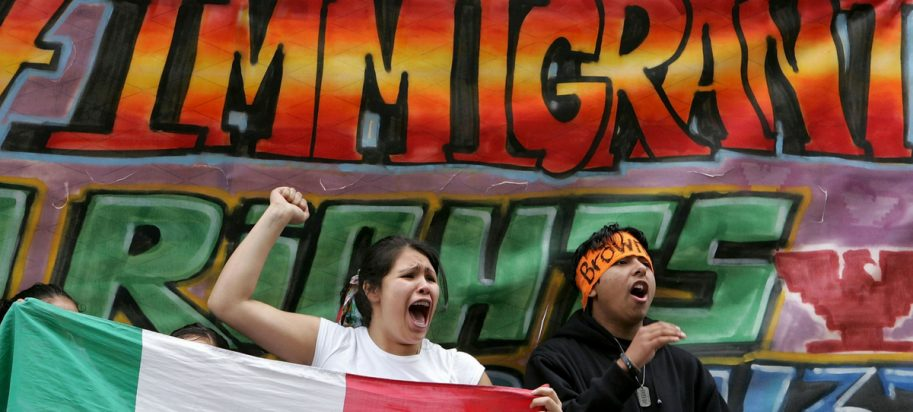 Demonstrators protest border protection and immigration laws March 27, 2006, in San Francisco, California.