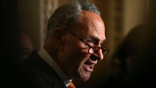 Senate Minority Leader Chuck Schumer (D-NY), speaks to the media after attending the Senate Democrats policy luncheon on June 12, 2018 in Washington, DC.