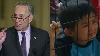 Chuck Schumer side by side immigrant child in a cage