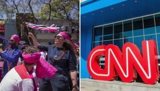 LA Pride Parade on June 10, 2018 and CNN Center in Atlanta, the world headquarters of CNN