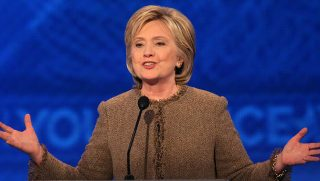 Hillary Clinton speaks at Democratic debate in New Hampshire