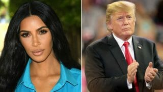 Kim Kardashian side by side Donald Trump