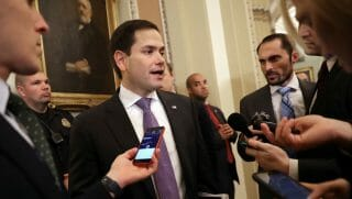 Sen. Marco Rubio talks to reporters