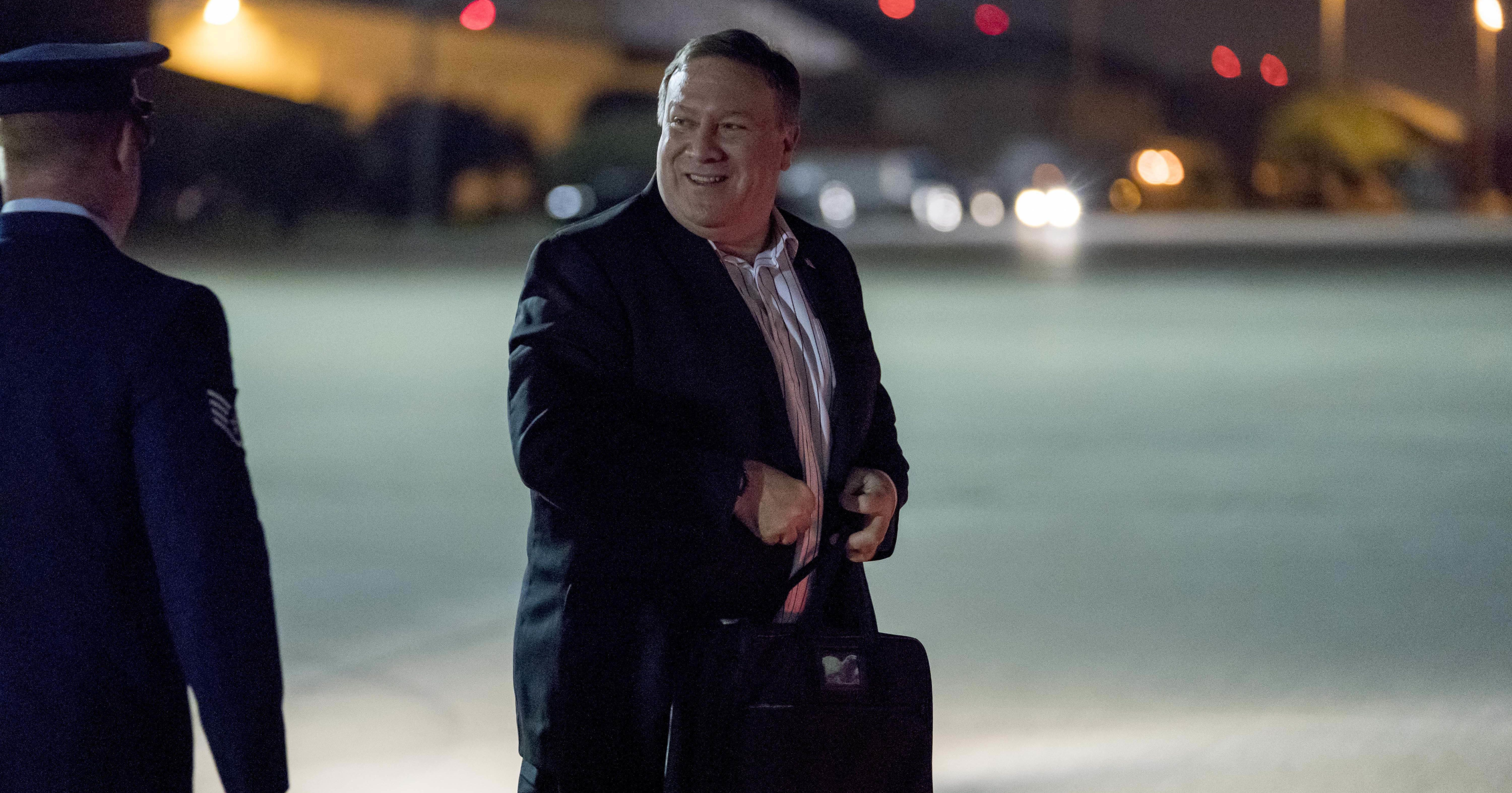 U.S. Secretary of State Mike Pompeo boards his plane at Andrews Air Force Base, Md., Thursday, July 5, 2018, to travel to Anchorage, Alaska on his way to Pyongyang, North Korea. Pompeo begins a trip traveling to North Korea, Japan, Vietnam, Abu Dhabi, and Brussels.