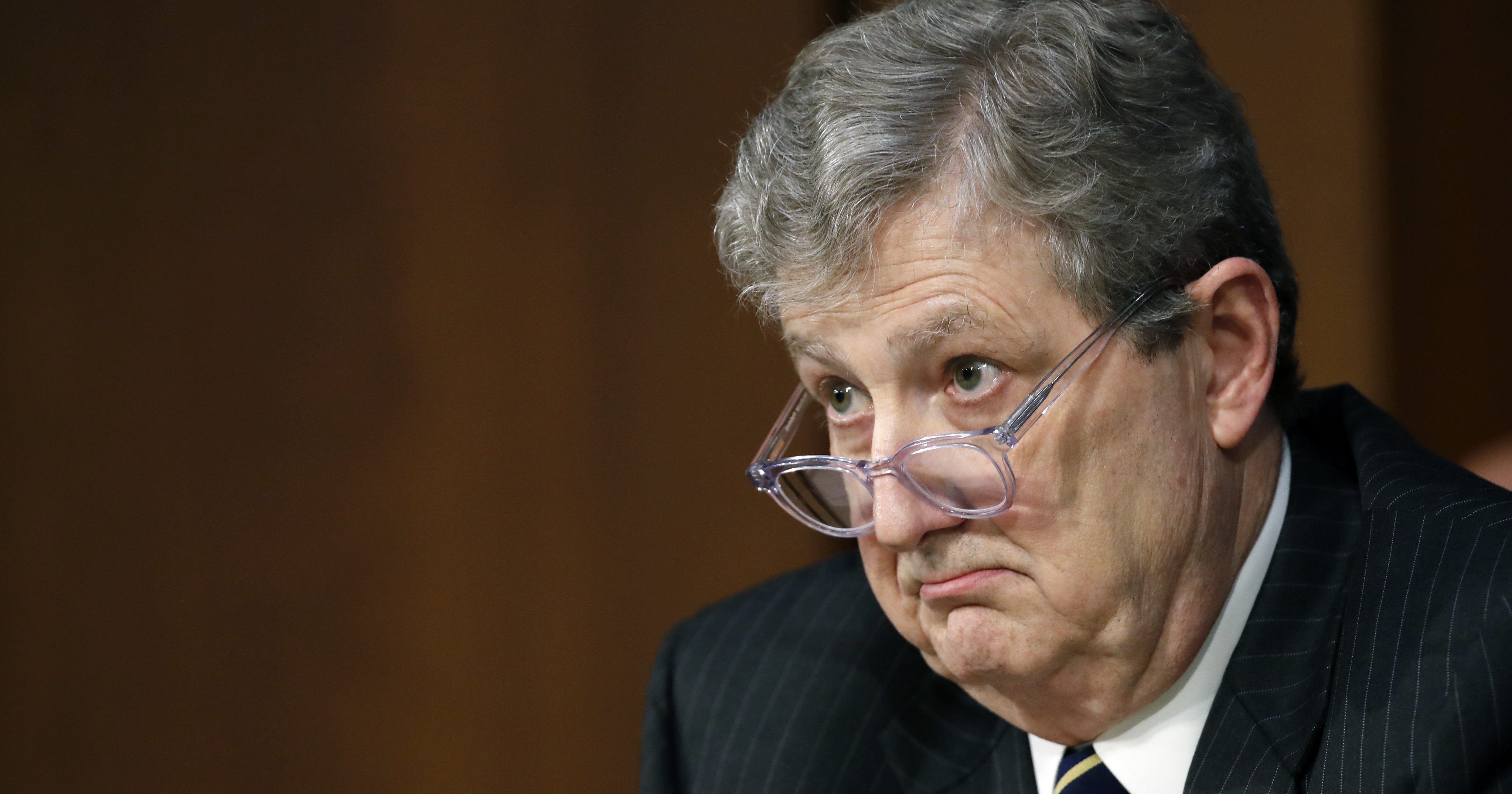Sen. John Kennedy, R-La., listens during a hearing on Capitol Hill in Washington.