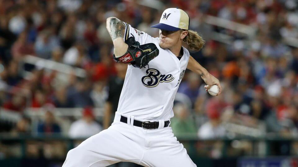 Milwaukee Brewers pitcher Josh Hader (71) throws during the eighth inning at the Major League Baseball All-star Game, Tuesday, July 17, 2018 in Washington.