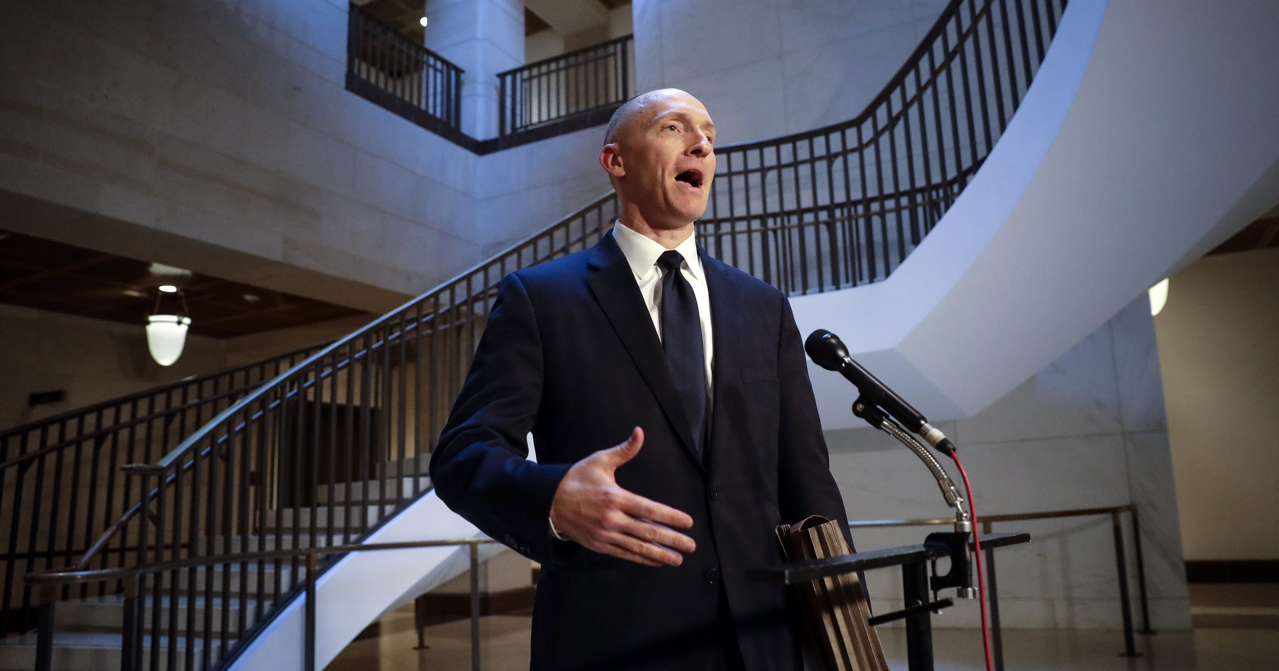 """FILE - In a Nov. 2, 2017 file photo, Carter Page, a foreign policy adviser to Donald Trump's 2016 presidential campaign, speaks with reporters following a day of questions from the House Intelligence Committee, on Capitol Hill in Washington. President Donald Trump claimed Sunday, July 22, 2018, that newly released documents relating to the wiretapping of his onetime campaign adviser Carter Page """"confirm with little doubt"""" that intelligence agencies misled the courts that approved the warrant. But lawmakers from both parties say the documents don't show wrongdoing."""