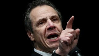 New York Governor Andrew Cuomo speaks at a health care union rally at the Theater at Madison Square Garden, February 21, 2018 in New York City.