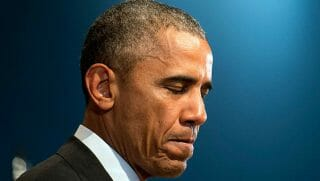 President Barack Obama frowns will delivering a 2015 speech.