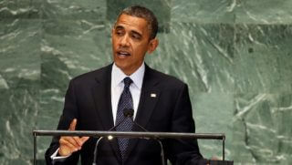 Obama standing at the U.N. podium.