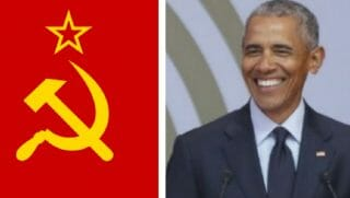 Barack Obama with the hammer-and-sickle flag of the old Soviet Union.