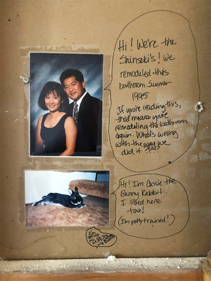 Couple leaves funny note during bathroom remodel