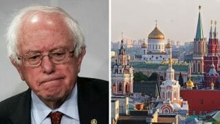 Left: U.S. Sen. Bernie Sanders pauses during a news conference at the Capitol on March 7, 2018, in Washington, D.C. Right: View of the center of Moscow.