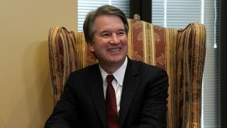 WASHINGTON, DC - JULY 19: Supreme Court nominee Judge Brett Kavanaugh during a meeting with U.S. Sen. Dean Heller (R-NV) on Capitol Hill July 18, 2018 in Washington, DC. Kavanaugh is meeting with members of the Senate after U.S. President Donald Trump nominated him to succeed retiring Supreme Court Associate Justice Anthony Kennedy.
