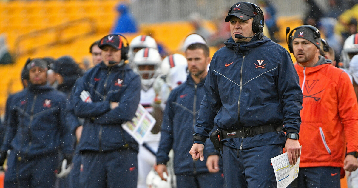 Head coach Bronco Mendenhall of the Virginia Cavaliers looks on from the sidelines in the second half during the game against the Pittsburgh Panthers at Heinz Field on October 28, 2017 in Pittsburgh, Pennsylvania.