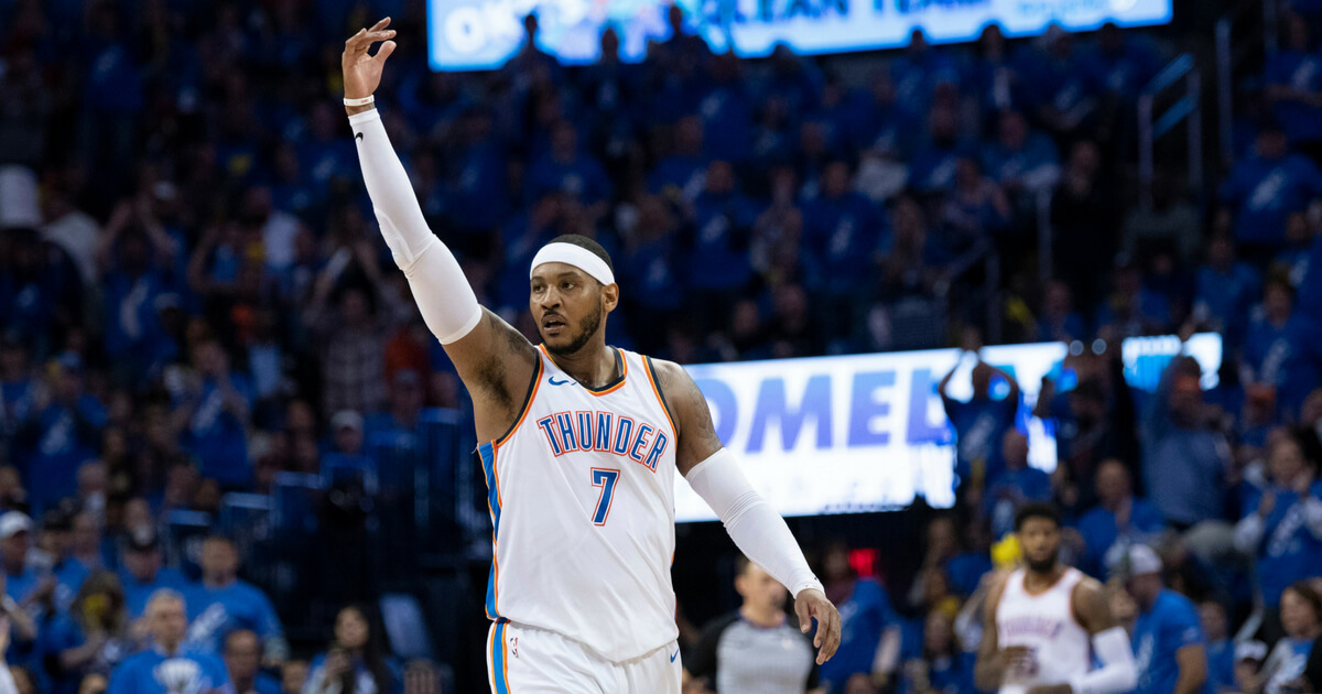 Carmelo Anthony #7 of the Oklahoma City Thunder reacts against the Utah Jazz during the second half of Game One of the Western Conference in the 2018 NBA Playoffs at the Chesapeake Energy Arena on April 15, 2018 in Oklahoma City.