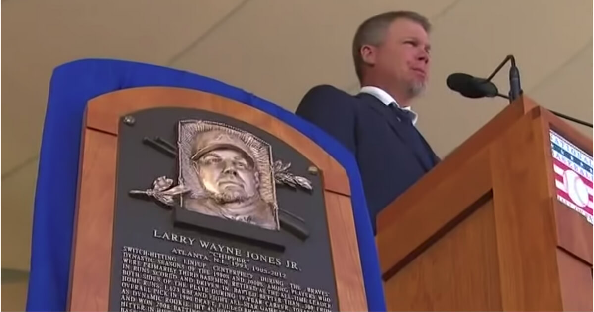 Chipper Jones makes his induction speech at the Baseball Hall of Fame