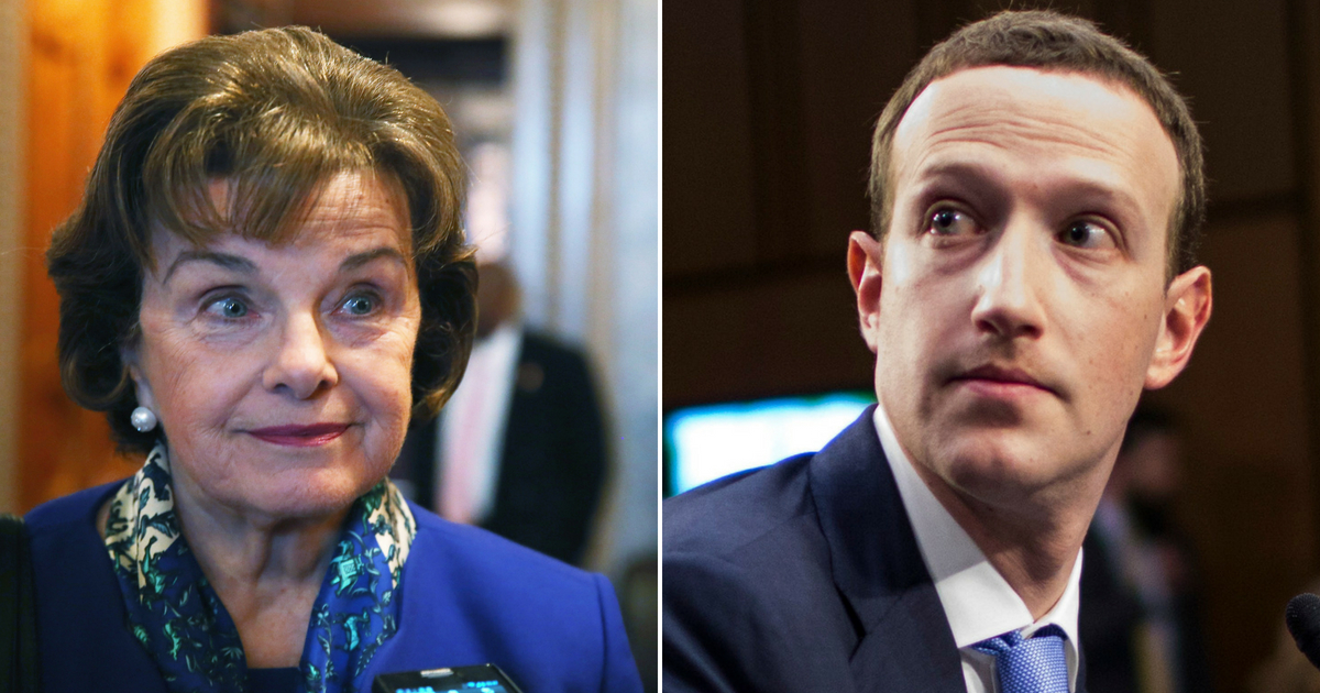 Dianne Feinstein and Mark Zuckerberg