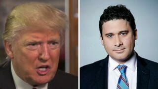 File photos of President Donald Trump and CNN correspondent Josh Rogin