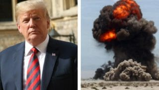 Donald Trump, left, with an image of a desert explosion
