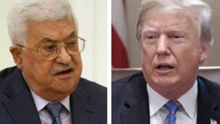 Mahmoud Abbas, left, with Donald Trump.