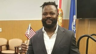 Minnesota Twins relief pitcher Fernando Rodney celebrates becoming a U.S. citizen.