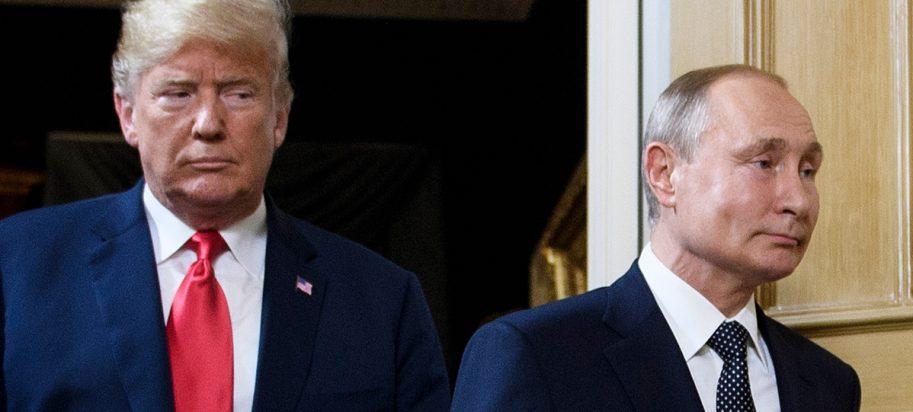 Photo of American President Donald Trump next to Russian president Vladimir Putin