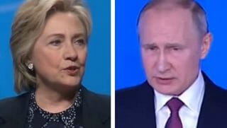 Hillary Clinton left, and Vladimir Putin