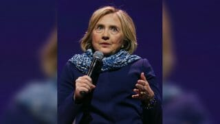 Hillary Clinton speaks at a lecture in Australia