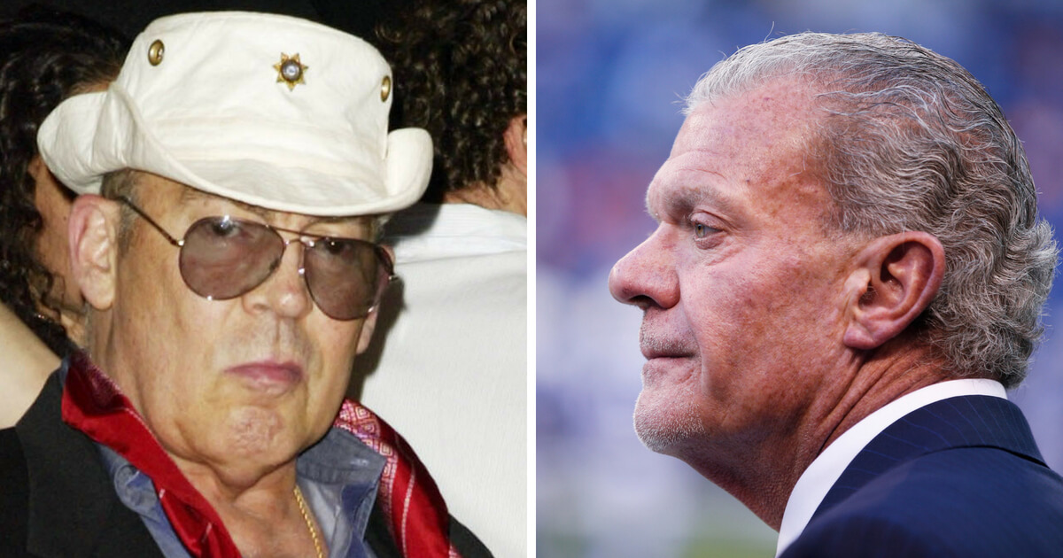 Left: Author Hunter S.Thompson arrives at the closing party for the CineVegas Film Festival at the Palms Hotel Las Vegas on June 21, 2003, in Las Vegas. Right: Owner and CEO Jim Irsay of the Indianapolis Colts looks on before a game against the Denver Broncos at Lucas Oil Stadium on November 8, 2015 in Indianapolis, Indiana. The Colts defeated the Broncos 27-24.