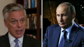 US Ambassador to Russia Jon Huntsman (left) and Russian President Vladimir Putin