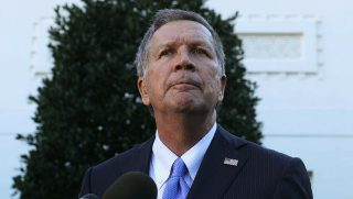 Ohio Governor John Kasich speaks to members of the media outside the West Wing November 10, 2016 at the White House in Washington, DC. President Obama hosted the Cavaliers to honor their 2016 NBA championship.
