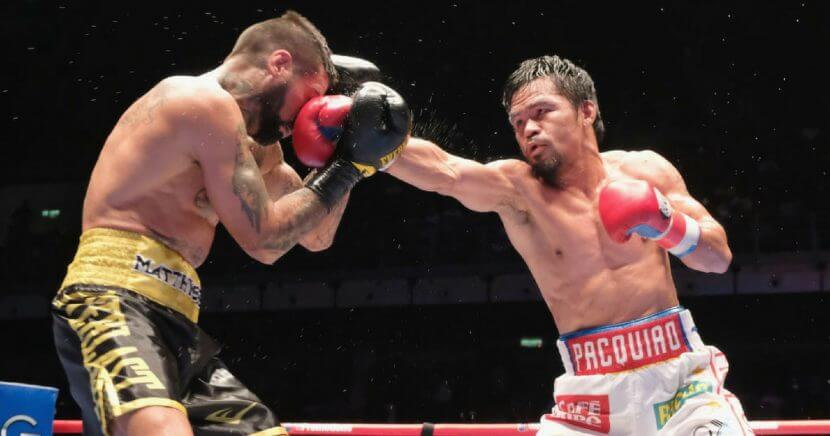 Manny Pacquiao of the Phillipines and Lucas Matthysse of Argintine in action on July 15, 2018 in Kuala Lumpur, Malaysia.