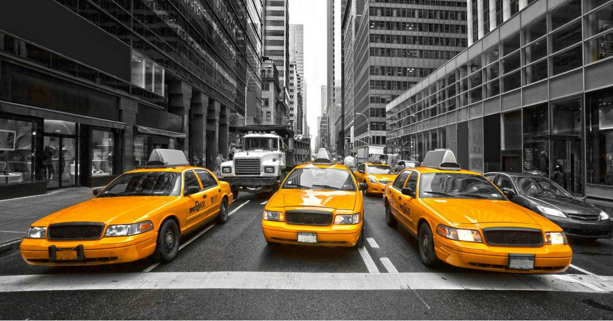 New York City taxi cabs.