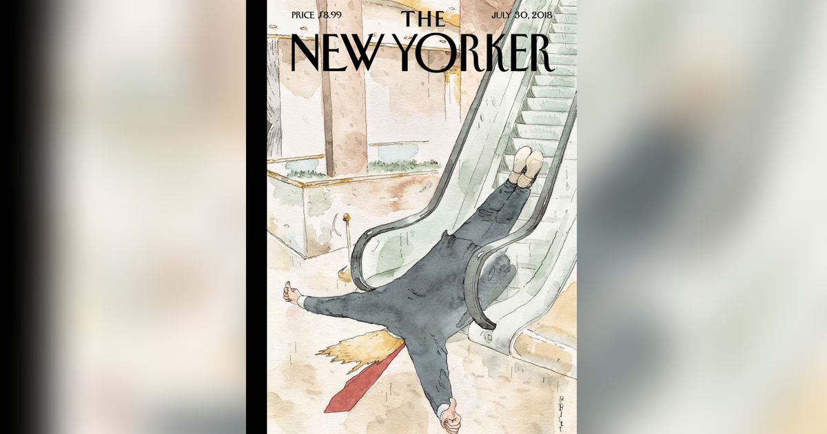 A political cartoonist drew a picture of a dead Donald Trump at the bottom of an escalator with his thumb up.
