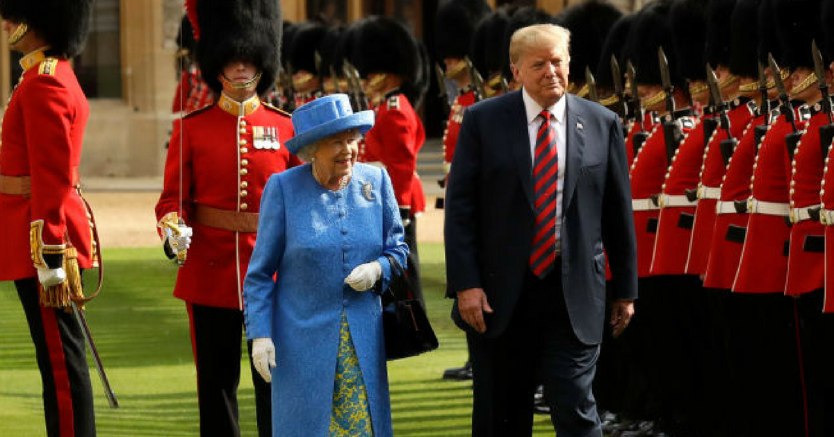 Queen Elizabeth and President Donald Trump at Windsor Castle in England, July 13