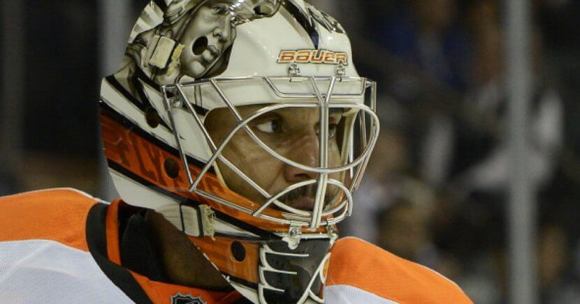 Former NHL goalie Ray Emery, pictured in a 2014 game with the Philadelphia Flyers