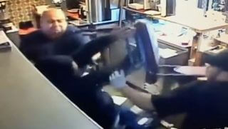 Robber Gets Hit with Chair