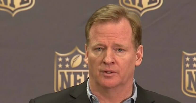 NFL Commissioner Roger Goodell speaks during a press conference.