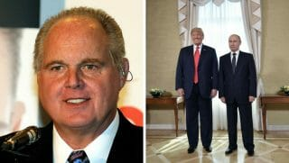 Radio talk show host and conservative commentator Rush Limbaugh, one of the judges for the 2010 Miss America Pageant, speaks during a news conference for judges at the Planet Hollywood Resort & Casino January 27, 2010 in Las Vegas, Nevada. ;US President Donald Trump (L) and Russia's President Vladimir Putin pose ahead a meeting in Helsinki, on July 16, 2018.