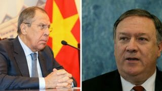 US Secretary of State Mike Pompeo speaks to members of the media at the U.N. headquarters on July 20, 2018 in New York City.;Russia's Foreign Minister Sergei Lavrov speaks during a meeting with his Vietnamese counterpart Pham Binh Minh (not in picture) at the Government Guest House in Hanoi on March 23, 2018.