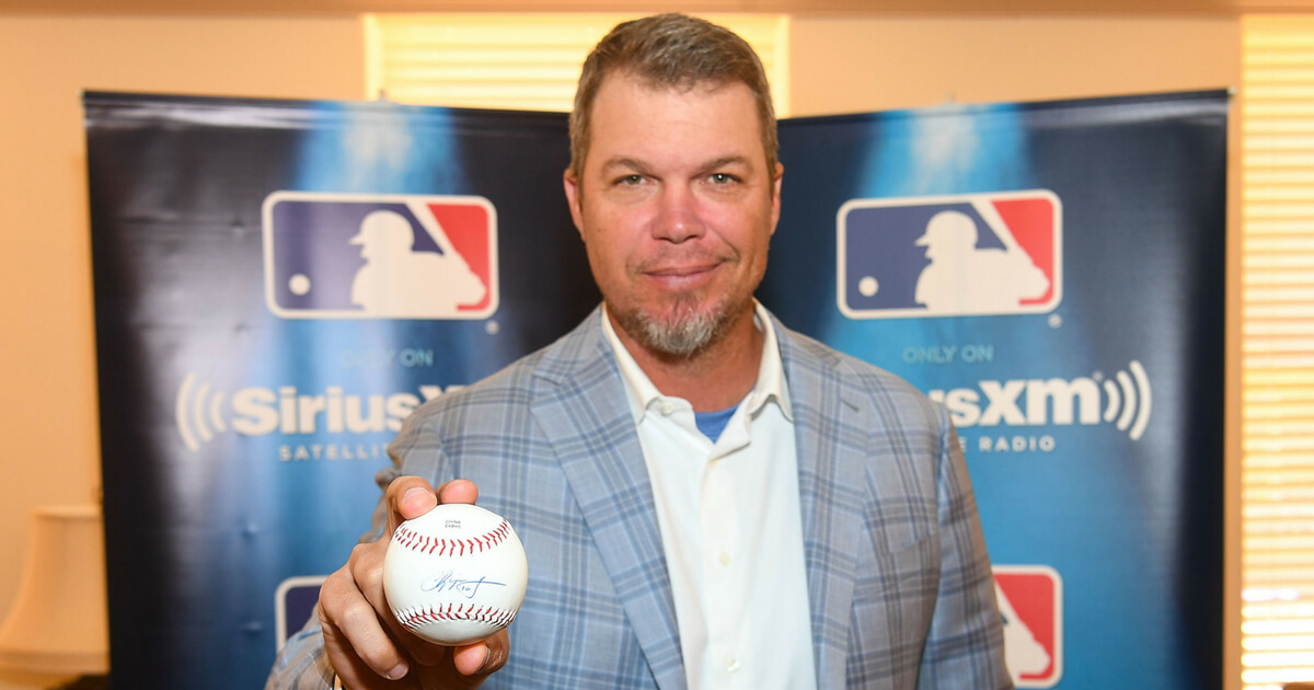 Chipper Jones poses during SiriusXM's 'Town Hall' with Chipper Jones at Decatur First Baptist Church on April 8, 2017, in Decatur, Georgia.