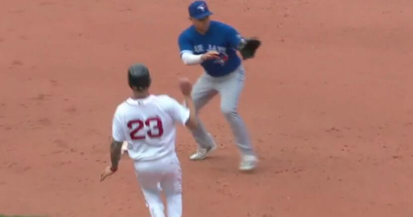 Boston's Blake Swihart was duped by a fake double play by Toronto's infielders.